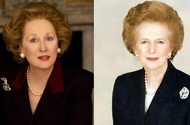 Meryl Streep grimée en Margaret Thatcher pour le film The Iron Lady
