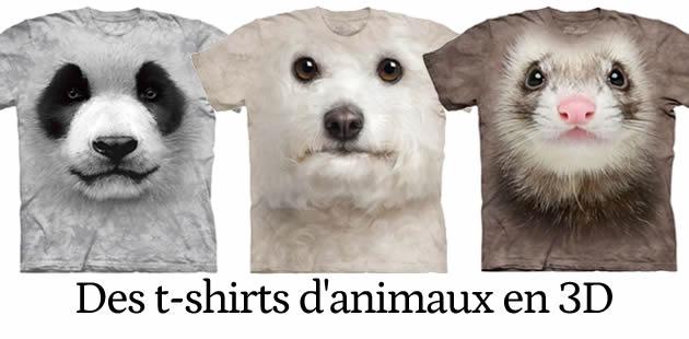 Des t-shirts d'animaux en 3D