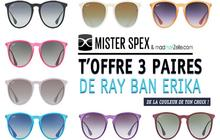 Concours : 3 paires de Ray Ban Érica à gagner chez Mister Spex !