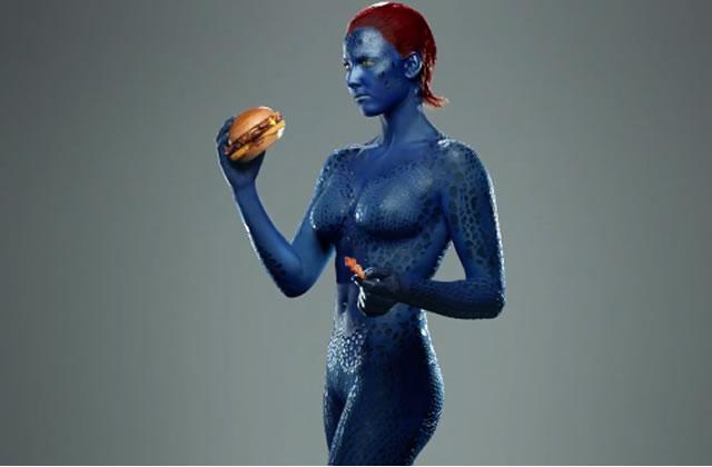 Mystique des X-men dans une pub sexiste pour des cheeseburgers