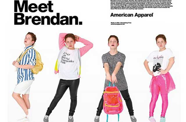 Brendan Jordan, 15 ans et découvert sur YouTube, devient égérie American Apparel