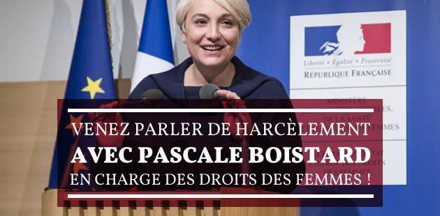 Venez parler de harcèlement avec Pascale Boistard, en charge des Droits des Femmes !