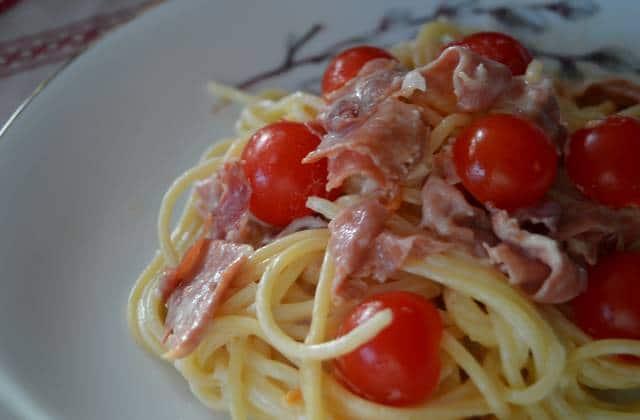 Les spaghettis au jambon sec et aux tomates cerises : la recette