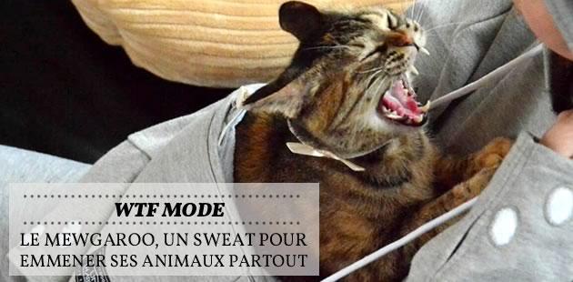 Le Mewgaroo, un sweat pour emmener ses animaux partout — WTF Mode