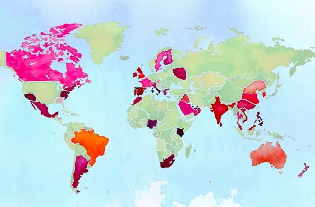 Les couleurs de rouge à lèvres à travers le monde compilées dans une étude