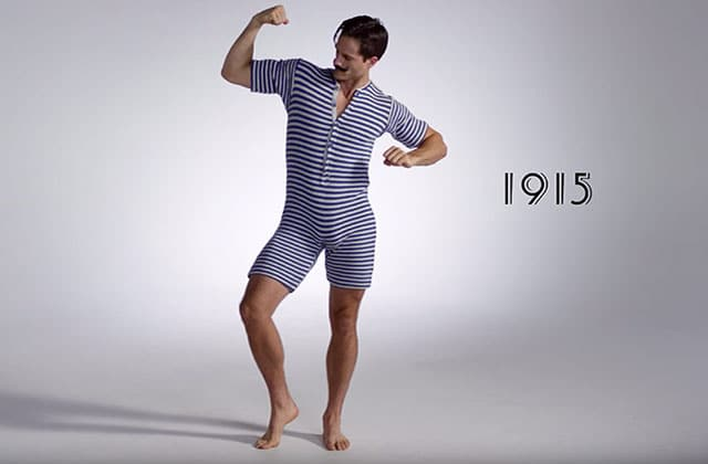 l 39 histoire des maillots de bain masculins en vid o avec 100 years of men 39 s swimwear. Black Bedroom Furniture Sets. Home Design Ideas