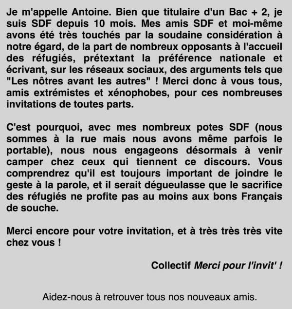 Argument Pour Les Sdf