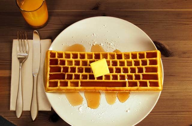 Le moule à gaufres en forme de clavier, pour un goûter connecté