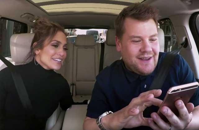 James Corden chipe le téléphone de J.Lo pour draguer… Leonardo DiCaprio