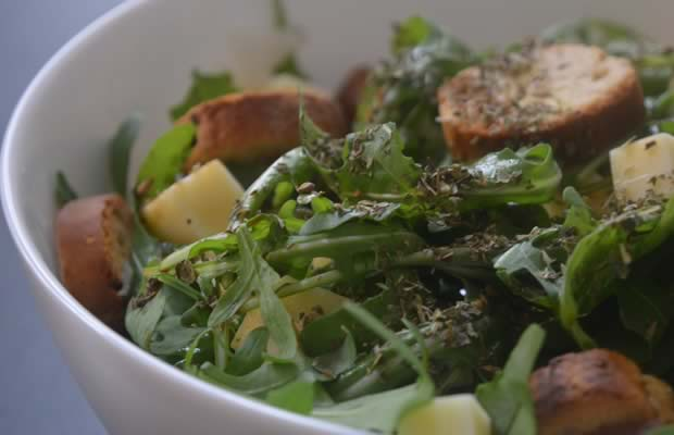 salade roquette croutons