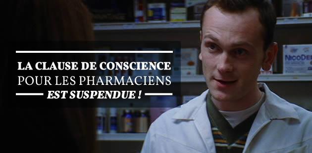 La clause de conscience pour les pharmaciens est suspendue !