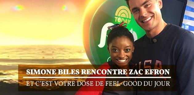 Simone Biles rencontre Zac Efron et c'est votre dose de feel-good du jour