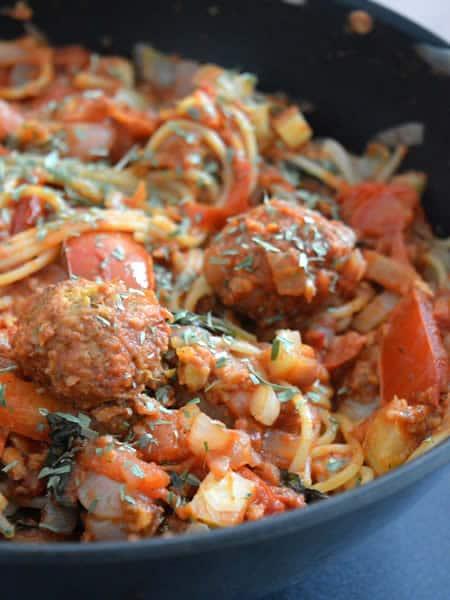 spaghettis vegan boulettes