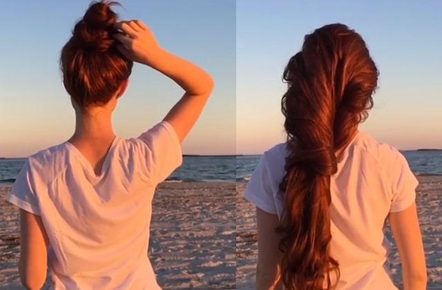 Les chignons se dénouent sur Instagram, et les cascades de cheveux se déroulent au ralenti