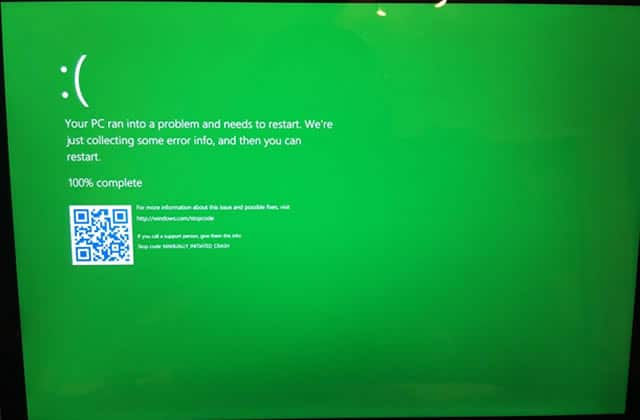 Le blue screen de Windows devient un green screen, le monde de la technologie s'effondre !
