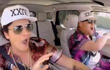 Bruno Mars donne une leçon de style à James Corden dans son Carpool Karaoke
