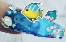 Un mini-océan coincé au creux de tes ongles grâce aux #AquariumNails