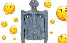 La veste en jean à épaules déchirées, pour être sûre de choper des coups de soleil cet été