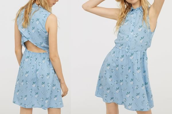 robe bleue h&m fleurie