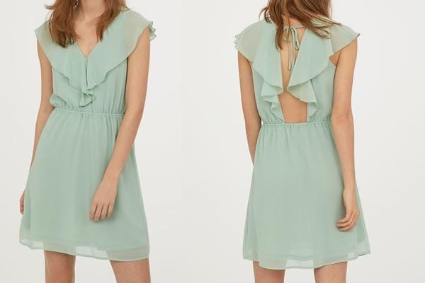 robe h&m mariage vert d'eau