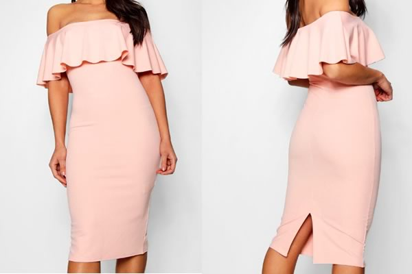 robe boohoo moulante rose