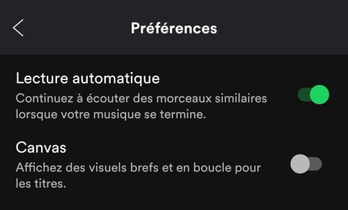 astuce spotify canvas lecture automatique