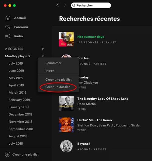 astuce spotify organiser playlist dossier