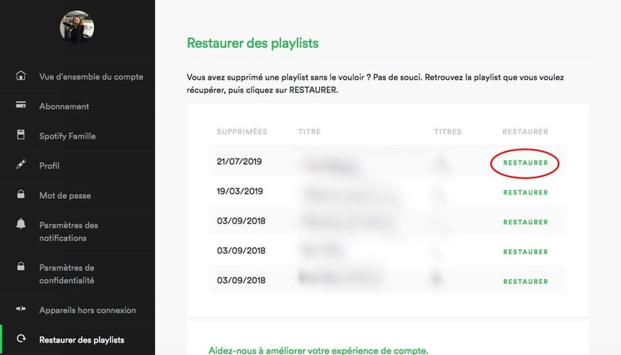 astuce spotify restaurer playlist supprimée