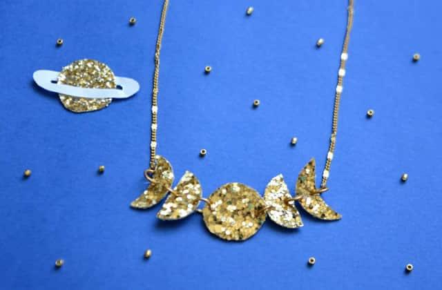 Tuto DIY — Un collier façon phases de la lune, et à paillettes!