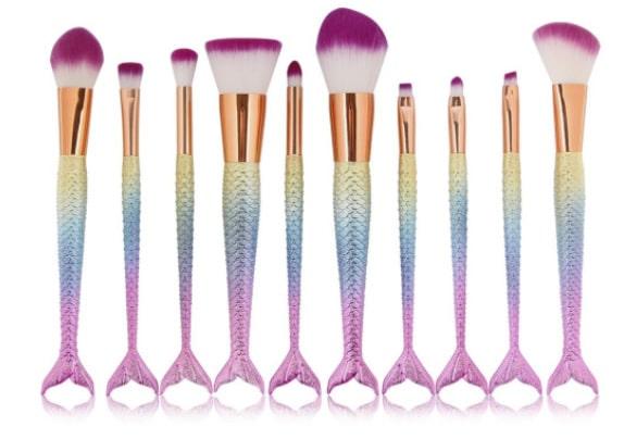 Kit de dix pinceaux de maquillage sirène, Needoon, 9,99\u20ac