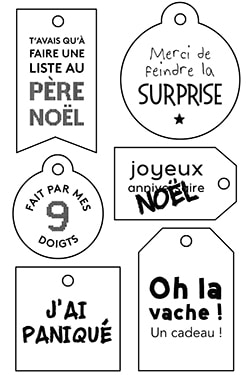 étiquettes Cadeau Noël 2017 à Imprimer