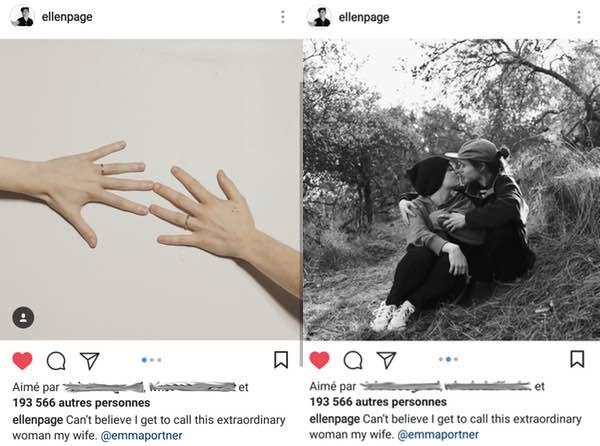 ellen page mariage emma portner instagram