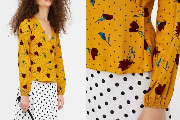 blouse-pois-jaune pull&bear
