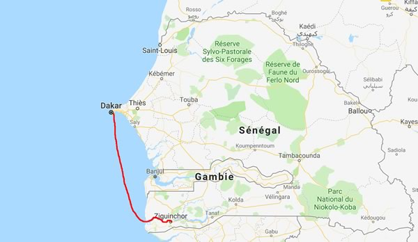 Trajet Dakar-Ziguinchor