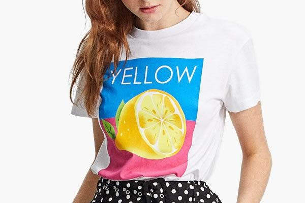t shirt citron stradivarius
