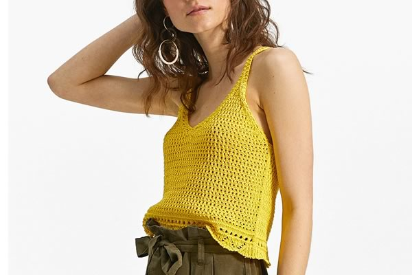 top crochet jaune stradivarius