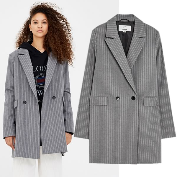 veste grise tailleur grise pull and bear