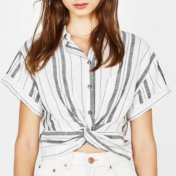 chemise nouée bershka rayée