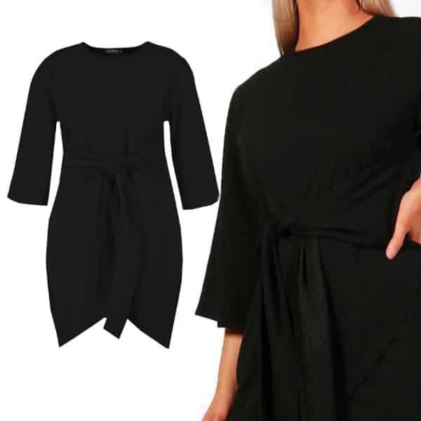robe noeud boohoo noir