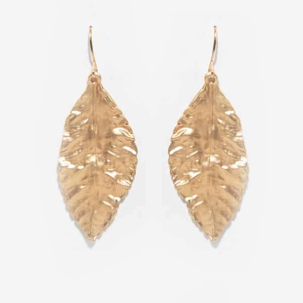 boucles d'oreilles parfois dorées feuilles