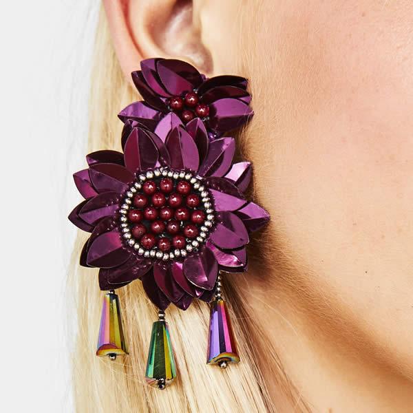 boucles d'oreilles bershka fleurs violettes