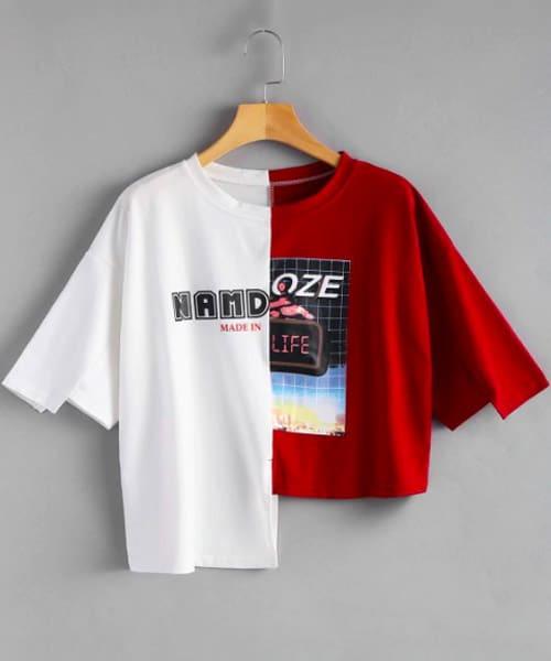 tshirt asymétrique rouge blanc zaful