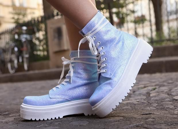 chaussures à paillettes bleues
