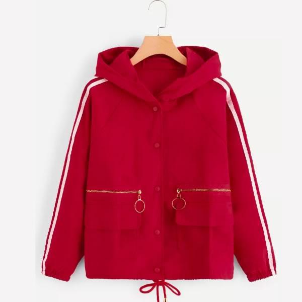 veste a capuche rouge pas chere romwe
