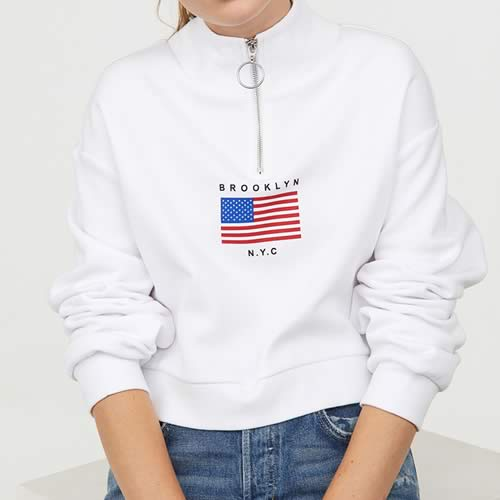 sweat zip col montant blanc H&M
