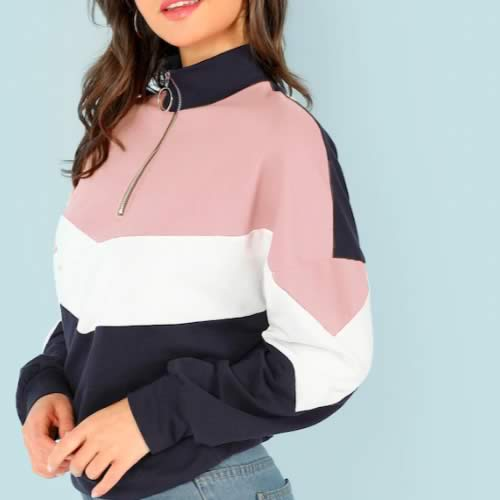 sweat zip col montant rose à bandes shein