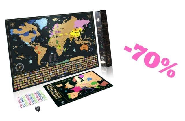 Bon plan du jour : la carte du monde à gratter, idéale pour les fans de voyages !