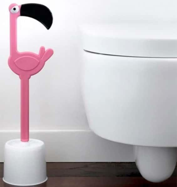 brosse wc flamant rose