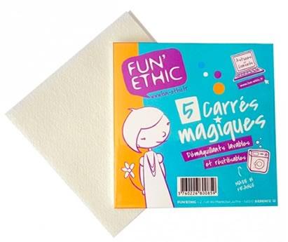 Carrés démaquillants lavables réutilisables Fun'ethic