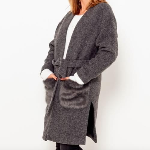 manteau long ceinturé poches fausses fourrures